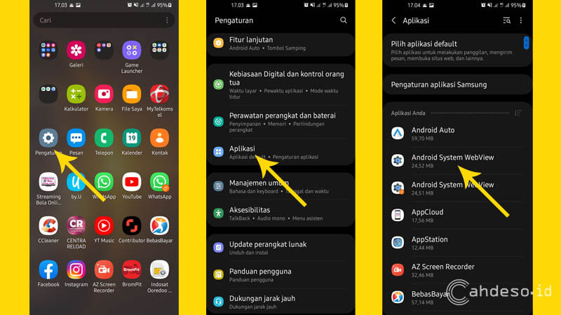 Hapus File Cache dan Data Android System WebView