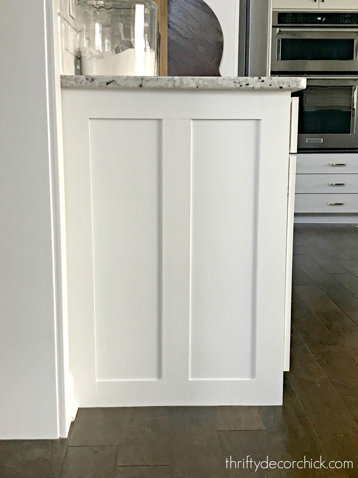 Upgrading the ends of builder grade cabinets with a custom design