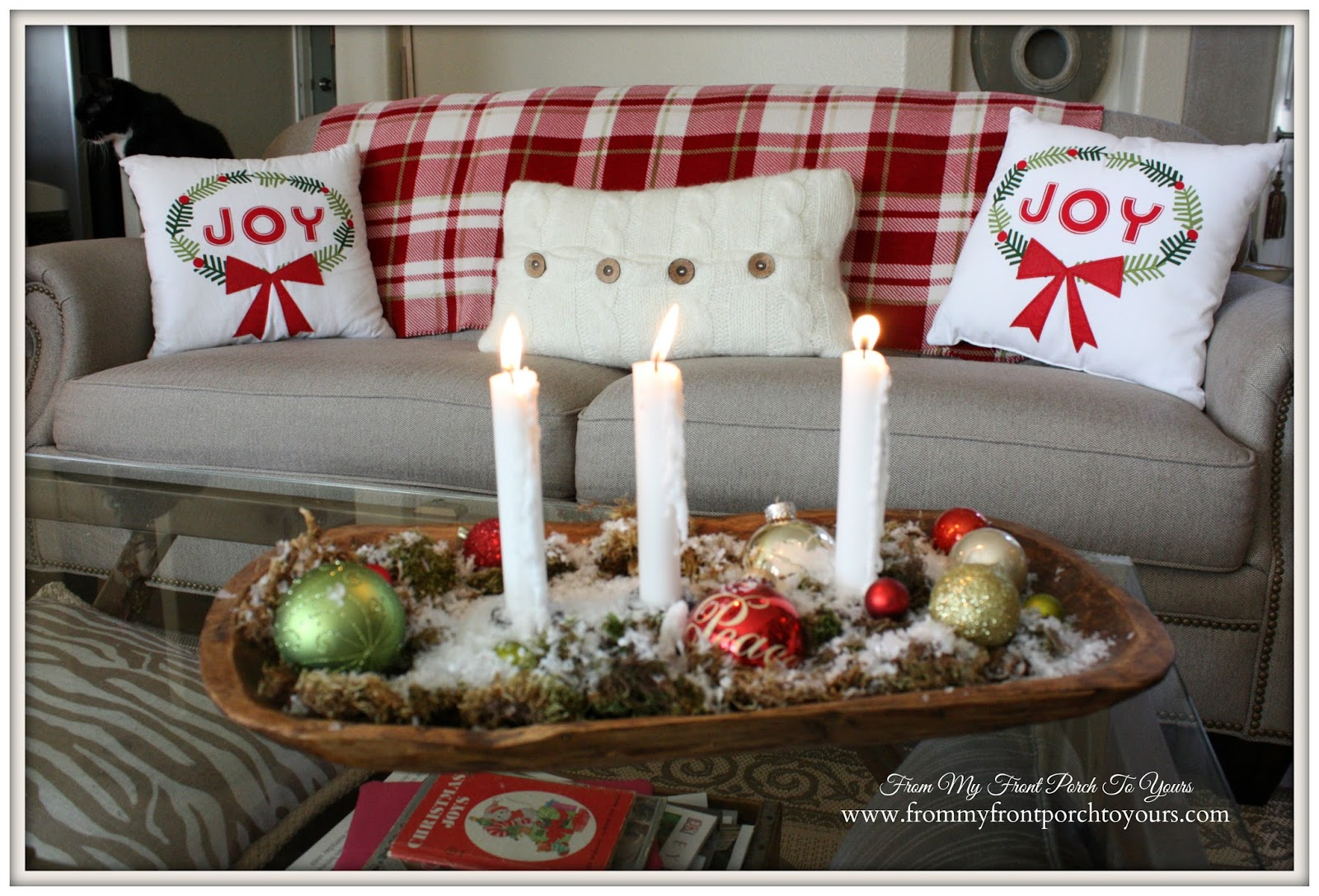 Farmhouse -Vintage -Christmas- Living Room-Joy-Pillows- From My Front Porch To Yours