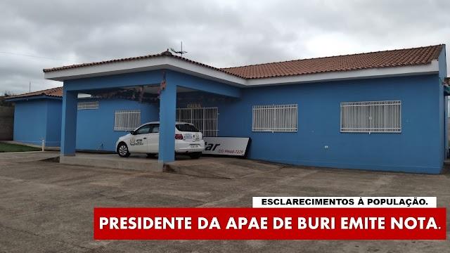 Presidente da APAE de Buri responde as acusações em nota.