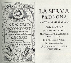 A poster advertising a performance of Pergolesi's  intermezzo La Serva Padrona in 1739