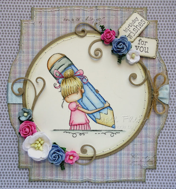 Shaped card in pastel pink and blue using Penelope has a pencil by Stamping Bella