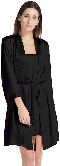 Black Silk Robes For Women With 100% Silk