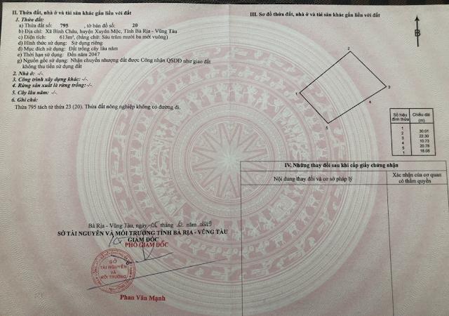 Bán đất bình châu huyện Xuyên Mộc diện tích 613m2