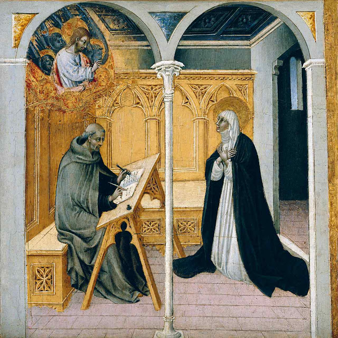 Santa Catarina de Siena  dita seus 'Diálogos' ao Beato Raimundo de Cápua, Giovanni di Paolo (1399 - 1482). Detroit Institute of Arts