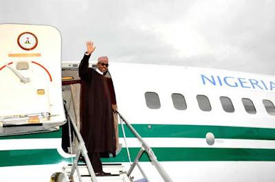buhari enters presidential jet