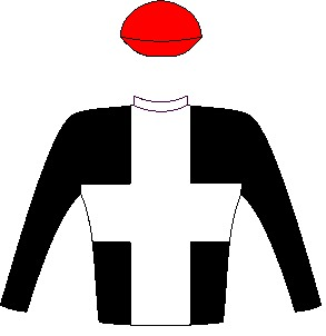 Ten Gun Salute - Silks - Black, white cross, black sleeves, red cap - Vodacom Durban July