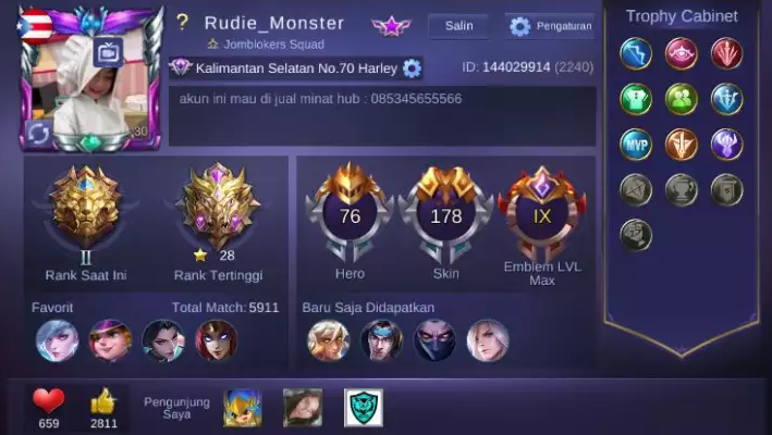 akun ml full skin gratis 2021