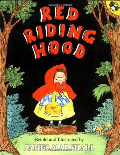 http://www.amazon.com/Riding-Hood-retold-James-Marshall/dp/0140546936/ref=sr_1_1?ie=UTF8&qid=1423346728&sr=8-1&keywords=little+red+riding+hood+james