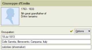 The finished product: My ancestor's job in Italian and English.