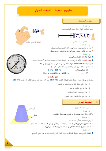 ملخص درس الضغط الجوي