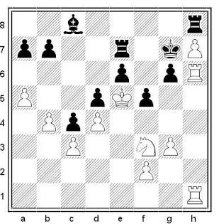 Posición de la partida de ajedrez Tigran Petrosian - Max Pavey (Moscú, 1955)