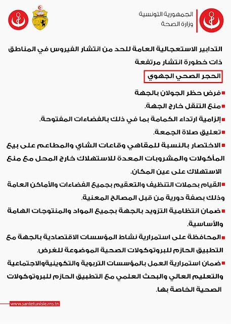 عاجل تونس : تصنيف 10 معتمديّات إضافيّة كمناطق ذات خطورة انتشار مرتفعة لفيروس كورونا