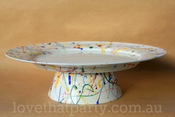 DIY Art Party Paint Splash Cake Stand @ Love That Party - www.lovethatparty.com.au