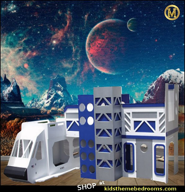 Space Shuttle Bunk Bed Space wallpaper mural Space Themed Kids Room outer-space-bedroom-decor-shuttle-bunk-bed-with-launch-tower-wall-murals-room-decorating-ideas-bedroom