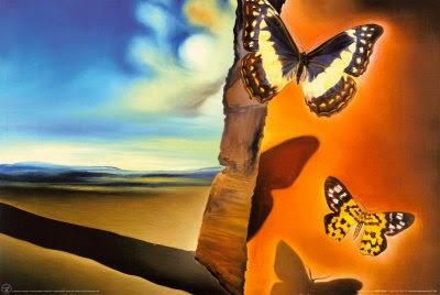 Salvador Dalí - Paisaje con mariposas - 1956