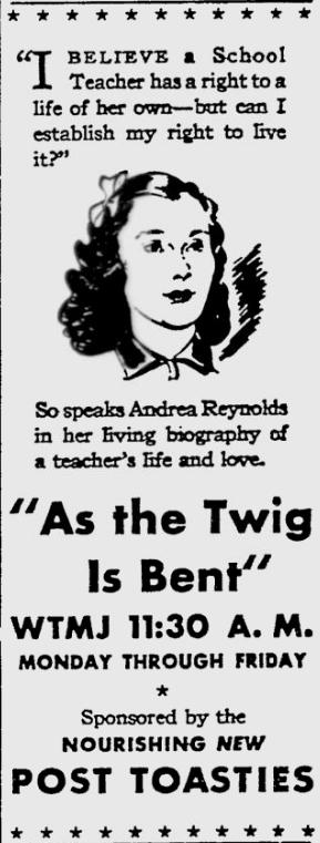 OTR Advertisements: As the Twig is Bent (Post Toasties)