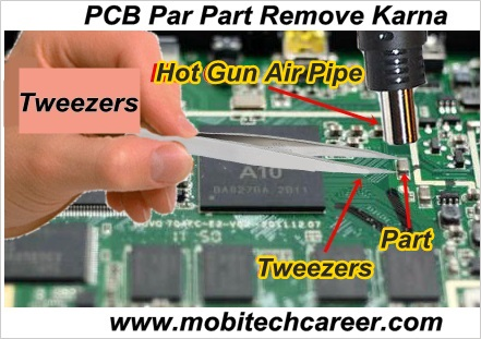 How to remove network capacitor from a pcb of a mobile phone