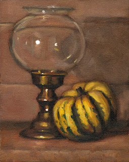 Oil painting of a spherical glass candle lamp beside a yellow and green pumpkin.