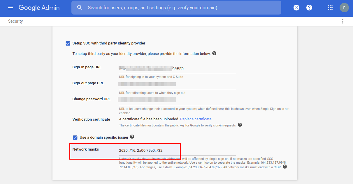 G Suite Updates Blog: SSO + network mask domains can now force