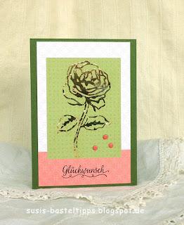 """Glückwunschkarte goldene Rose mit dem Stampin' Up! Kartensortiment """"Erinnerungen und mehr"""" Blumengarten"""