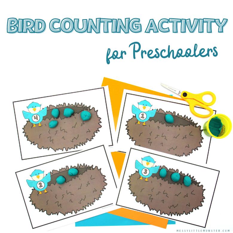 Bird counting activity for preschoolers