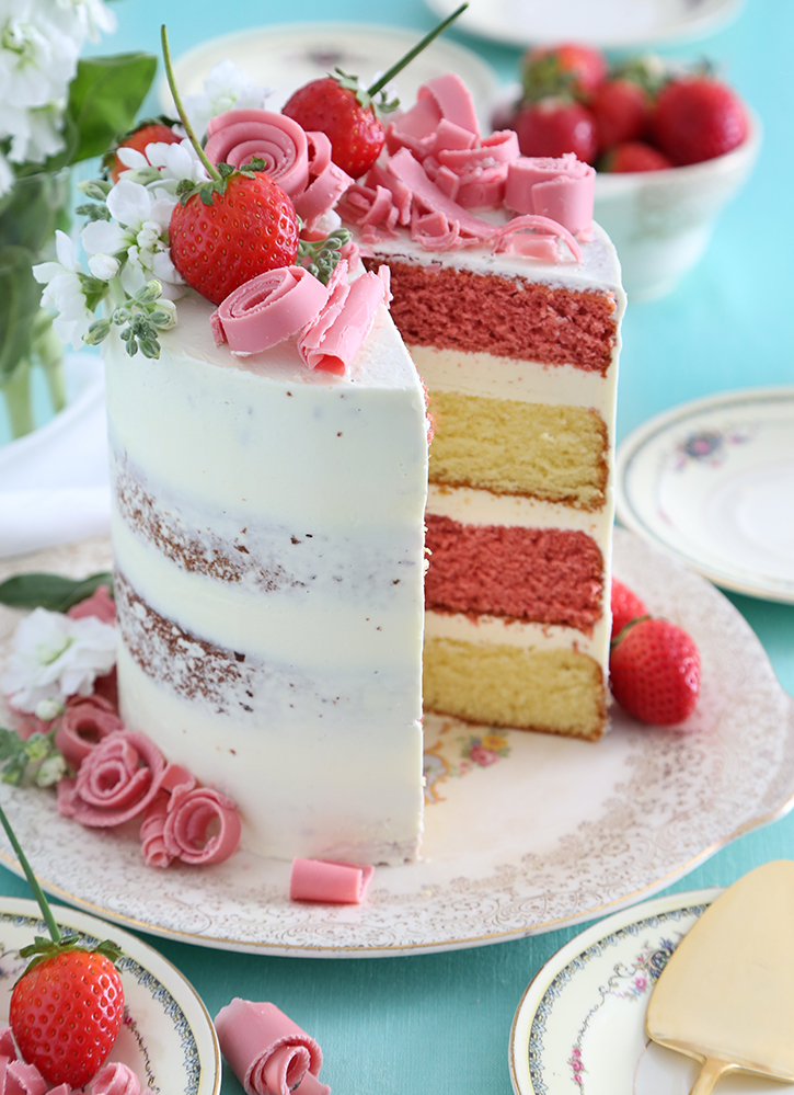Wild Strawberry and Lemon Verbena Layer Cake