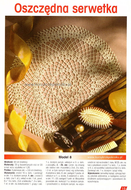 Dekoracyjna serwetka na szydełku w stylu retro + SCHEMAT i OPIS