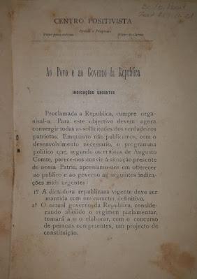 Manifesto do Apostolado Positivista do Brasil, assinado por Miguel Lemos. 21 de Novembro de 1889.