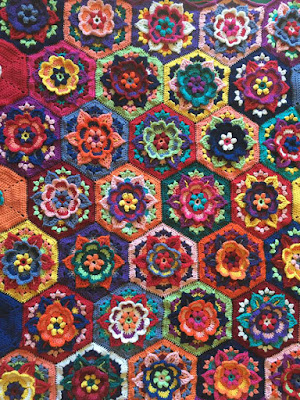 crocheted afghan by Huib Peterson using Frida's Flowers pattern