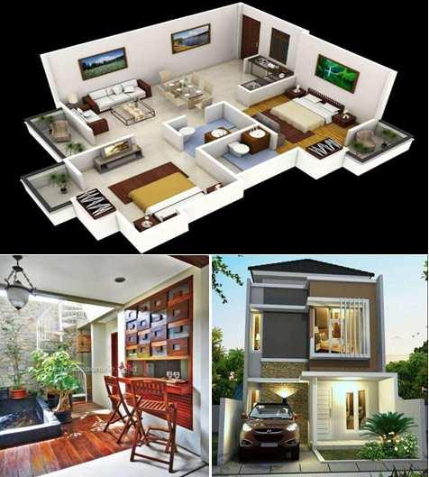 Rumah minimalis 2 lantai sederhana type 45