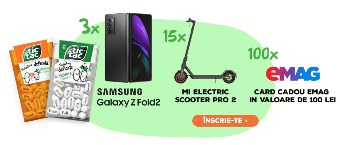 Concurs TicTac 2021 - Castiga 3 Telefoane mobile Samsung Galaxy Z Fold2 - castiga.net