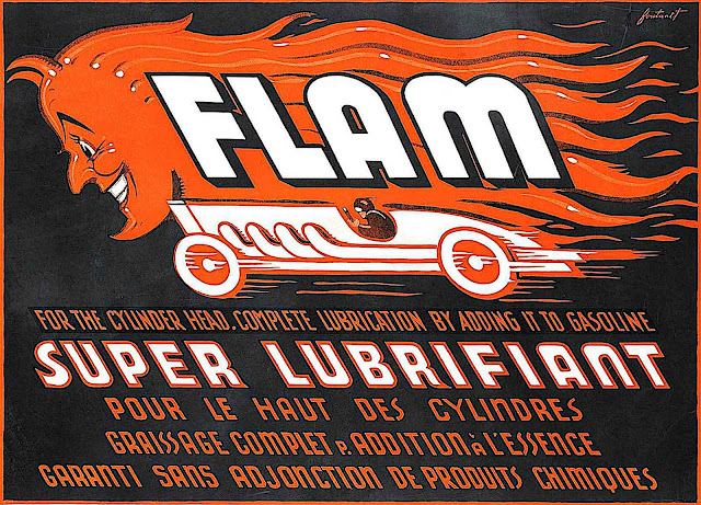 a 1922 advertising poster for motor oil by Noel Fontanet for Flam motor oil, showing a flaming devil racing car