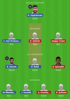 Dream11 team for DIN vs VBK 23rd Match | Fantasy cricket tips | Playing 11 | TNPL dream11 Team | today match prediction |