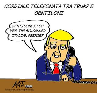 Trump, gentiloni, rapporti internazionali, esteri, satira, vignetta