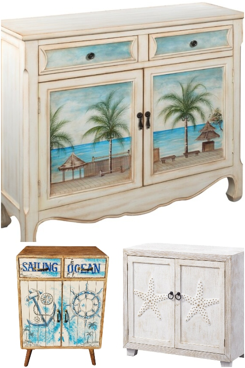 Coastal Beach Theme Painted Chests Cabinets