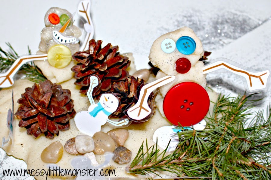 Build a winter snowman usingplaydough