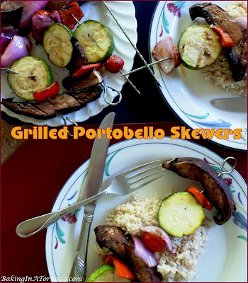 Grilled Portobello Skewers, vegetables are marinated in a red wine vinaigrette, skewered and grilled. Serve over brown rice for a meatless dinner. | Recipe developed by www.BakingInATornado.com | #recipe #grilling