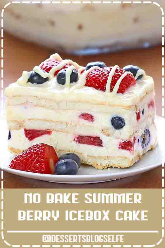 Looking for a quick and easy Summer dessert recipe? Try out delicious No Bake Summer Berry Icebox Cake ! #DessertsBlogSelfe #nobake #SummerDesserts #puddings