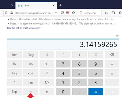 Calculatrice sur Microsoft Bing
