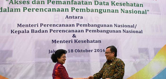 Penandatanganan MoU Kemenkes dengan Bappenas (Akses & Pemanfaatan Data Kesehatan dalam Perencanaan Pembangunan Nasional)