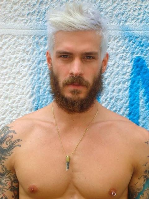 cabelo masculino colorido branco platinado
