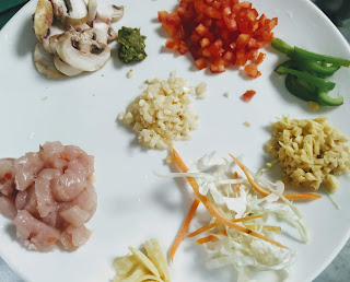 Different ingredients for chicken hot and sour soup recipe