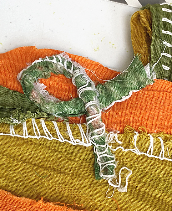 creating a pumpkin tendril from fabric