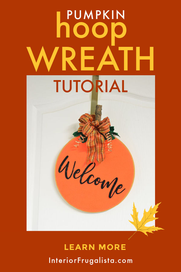 A simple easy peasy embroidery hoop pumpkin wreath tutorial by Interior Frugalista, a budget fall decorating idea with thrift store finds, fabric scraps and ribbon that you have on hand. #fallhoopwreath #diyfallwreath