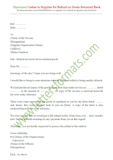 refund letter sample to supplier