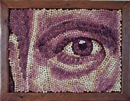 Retrato hecho con corcho reciclado