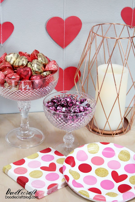 Rose gold and hearts are the perfect decor for a Happy Galentine's Party!