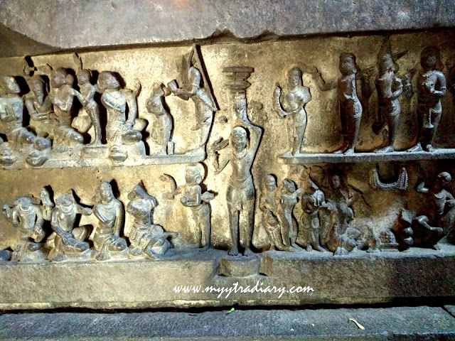Intricate details frm the Mahabharata at the Bhuleshwar Shiva Temple near Yavat, Pune