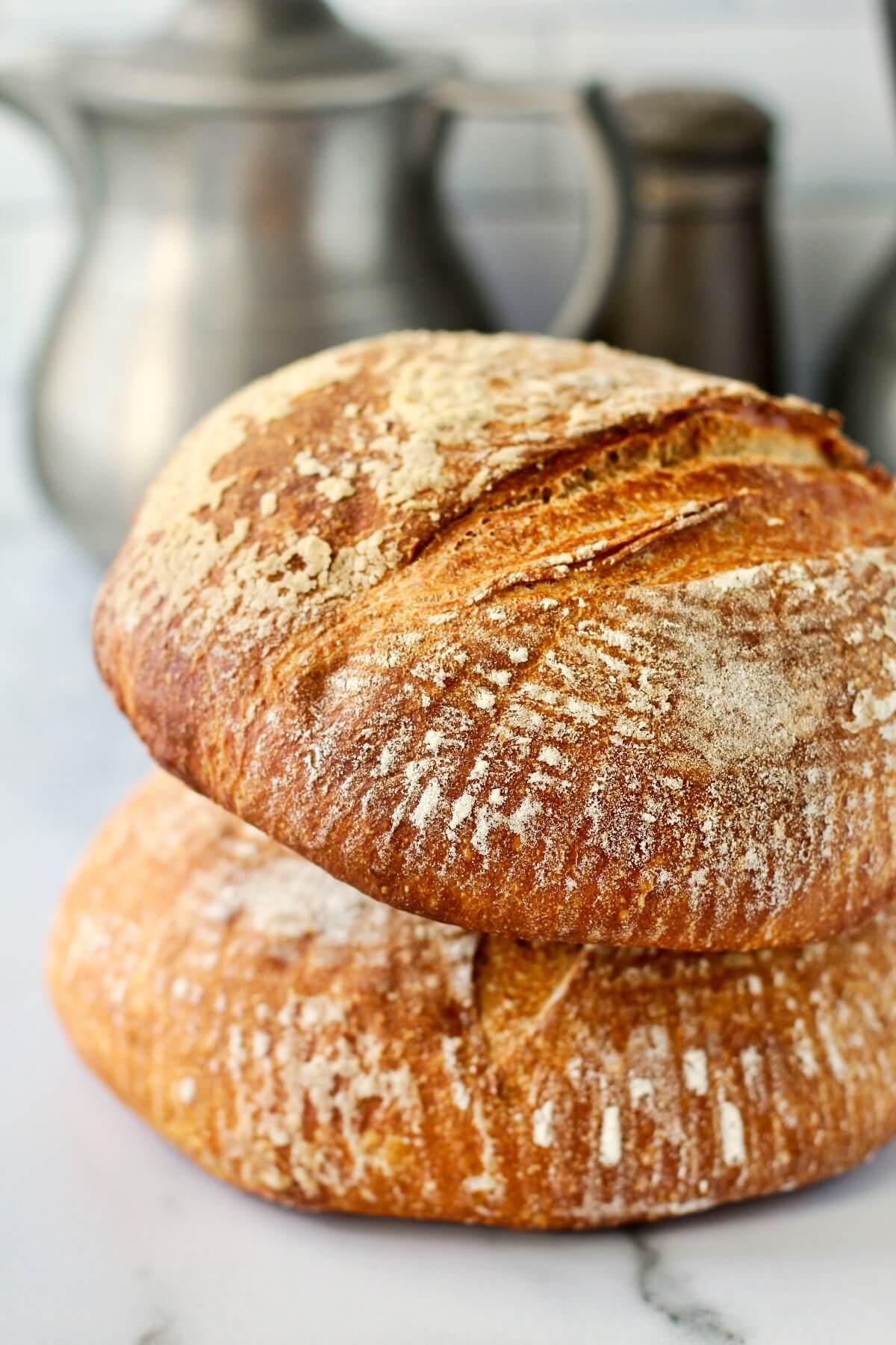 Basic Sourdough Bread stacked